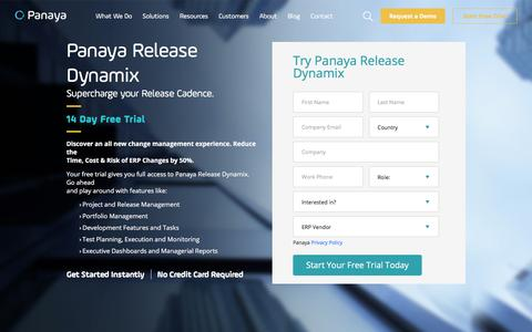 Screenshot of Trial Page panaya.com - Panaya Release Dynamix - 14 Day Free Trial - captured Oct. 17, 2019
