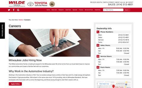Screenshot of Jobs Page wildetoyota.com - West Allis Automotive Jobs: Car Sales, Service, Finance   Wilde Toyota - captured Oct. 19, 2018