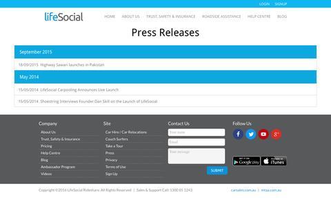 Screenshot of Press Page lifesocial.com.au - Press Releases : LifeSocial - captured July 14, 2016