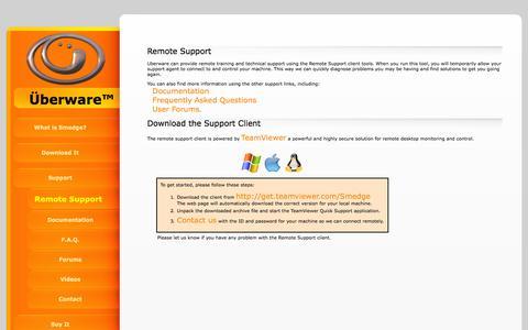 Screenshot of Support Page uberware.net - Uberware Remote Support: Uberware Renderfarm Management Software - captured Oct. 7, 2014