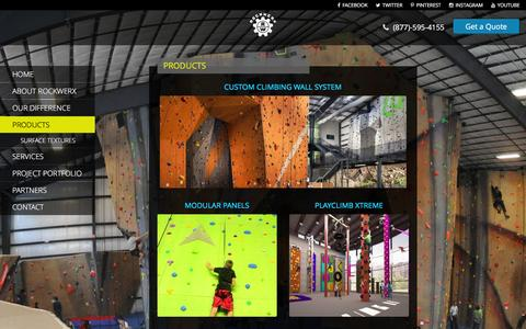 Screenshot of Products Page rockwerxclimbing.com - Products | Rockwerx, Inc. Climbing Wall Professionals - captured Jan. 11, 2016