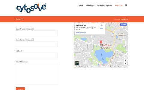 Screenshot of Contact Page cytosolve.com - Contact Us   CytoSolve - captured Sept. 19, 2017