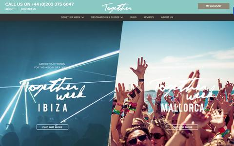 Screenshot of Home Page together.travel - Party Holidays in Ibiza, Mallorca and Europe | Together Travel - captured Nov. 19, 2015