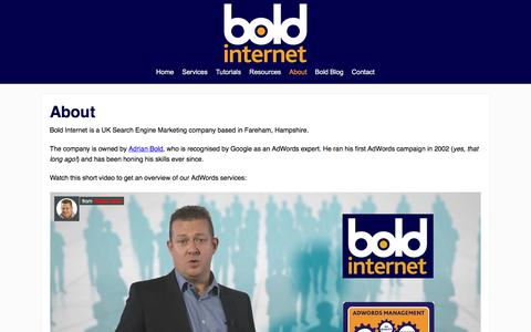 Screenshot of About Page boldinternet.co.uk - About Bold Internet - SEM Company in Hampshire, UK - captured July 5, 2017