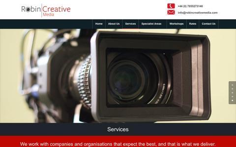 Screenshot of Services Page robincreativemedia.com - Video Production Services | Robin Creative Media | Hampshire - captured Aug. 14, 2016