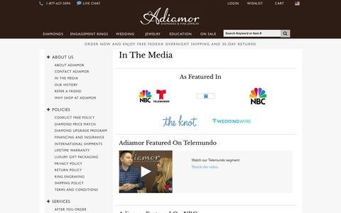 Screenshot of Press Page adiamor.com - In The Media | Adiamor - captured July 24, 2016