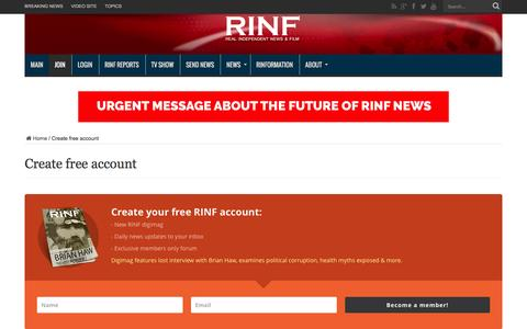 Screenshot of Signup Page rinf.com - Create free account - captured Feb. 16, 2016