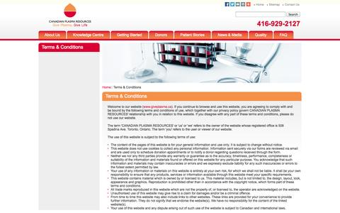 Screenshot of Terms Page giveplasma.ca - Plasma Donations- Donating Blood Plasma For Money - Terms & Conditions - captured Oct. 1, 2014