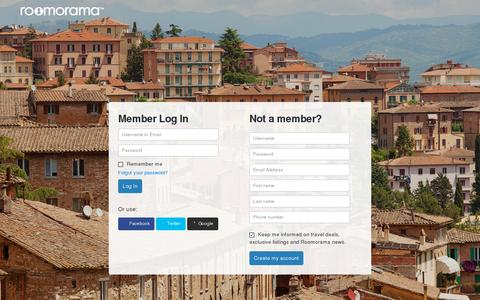 Screenshot of Login Page roomorama.com - Short Term Rentals, Nightly and Weekly Apartments, Homes and Rooms - Roomorama - captured July 21, 2014