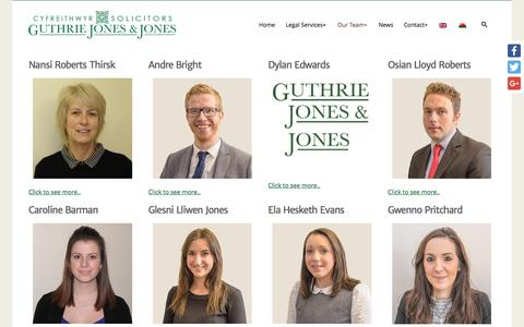 Screenshot of Team Page guthriejj.co.uk - Meet The Team - Solicitors North Wales and Denbigh, Dolgellau, Bala and Harlech - captured Nov. 16, 2016