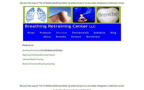 Screenshot of Services Page breathingretrainingcenter.com - Breathing Retraining Center - captured Feb. 8, 2016