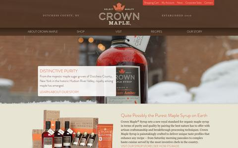 Screenshot of Home Page crownmaple.com - Certified Organic, 100% Pure Maple Syrup | Crown Maple Syrup | Dutchess County, New York - captured Jan. 23, 2015