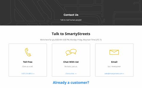 Screenshot of Contact Page smartystreets.com - Contact Us - SmartyStreets - captured July 21, 2019