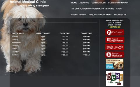 Screenshot of Hours Page animalmedclinic.com - Animal Medical Clinic  - Bristol,   , TN - Hours - captured Oct. 3, 2018
