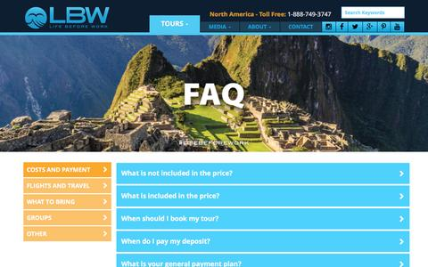 Screenshot of FAQ Page lbwtravel.com - LBWTravel - FAQ - captured Jan. 29, 2016