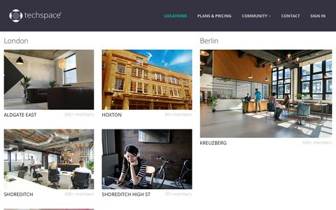 Screenshot of Locations Page techspace.co - Find Coworking Space in Berlin and London  – Techspace – A Community for Tech Startups & Scale-ups - Berlin and London - captured Oct. 20, 2018