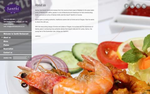 Screenshot of About Page santhirestaurant.co.uk - About us - Santhi Restaurant Leicester - captured Sept. 26, 2014