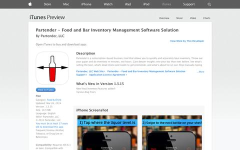 Screenshot of iOS App Page apple.com - Partender - Food and Bar Inventory Management Software Solution on the App Store on iTunes - captured Dec. 16, 2014
