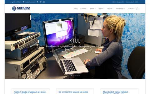 Screenshot of Home Page schurz.com - Home - Schurz Communications Inc. - captured Sept. 19, 2014