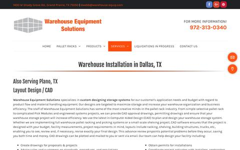 Screenshot of Services Page warehouse-equipment-solutions.com - Warehouse Installation Services for Dallas & Plano, TX - captured Nov. 2, 2018