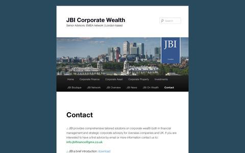 Screenshot of Contact Page wordpress.com - Contact | JBI Corporate Wealth - captured Sept. 12, 2014