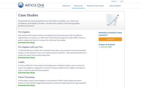Screenshot of Case Studies Page articleonepartners.com - Case Studies | Article One Partners -  Litigation, Licensing, and Validity - captured July 20, 2014
