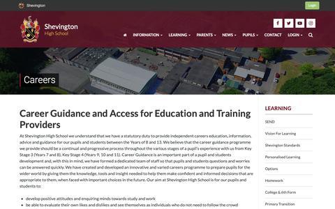 Screenshot of Jobs Page shevingtonhigh.org.uk - Careers | Shevington - captured Nov. 17, 2018