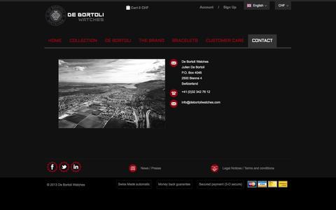 Screenshot of Contact Page debortoliwatches.com - Contact - captured Sept. 30, 2014
