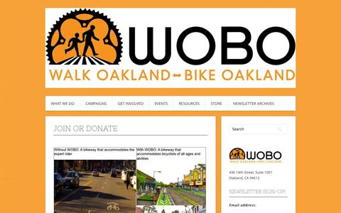 Screenshot of Signup Page wobo.org - Join or Donate | Walk Oakland Bike Oakland - captured Oct. 27, 2014