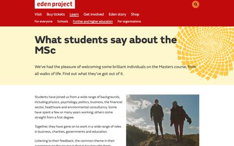 Screenshot of Testimonials Page edenproject.com - Student testimonials, MSc Sustainability with Anglia Ruskin University - Eden Project, Cornwall - captured Oct. 25, 2018