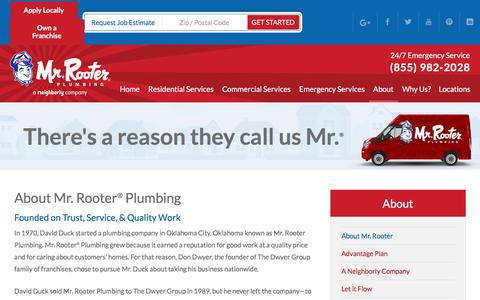 Screenshot of About Page mrrooter.com - About Our Company | Mr. Rooter® Plumbing - captured June 19, 2017