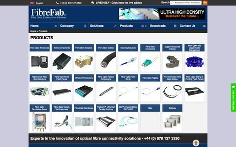 Screenshot of Products Page fibrefab.com - FibreFab Product Range - Optical Fibre, and Copper Networking solutions - captured Sept. 30, 2014