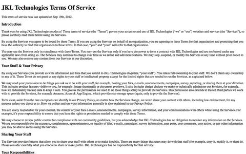 Screenshot of Terms Page jkltech.in - Terms of Service - captured Nov. 2, 2014