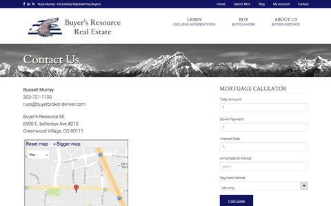 Screenshot of Contact Page buyerbroker-denver.com - Contact Us – Denver Buyer Broker - captured Nov. 23, 2016