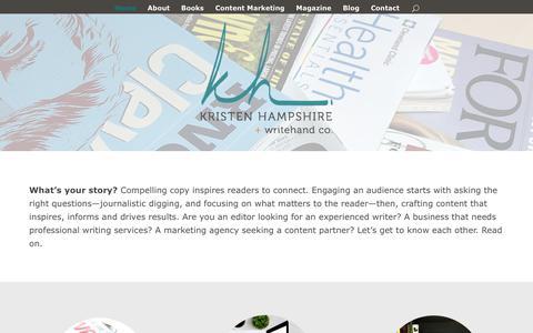 Screenshot of Home Page kristenhampshire.com - Freelance Writer | Journalist | Content Marketing | Kristen Hampshire - captured Oct. 20, 2018