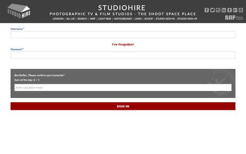 Screenshot of Login Page studiohire.com - STUDIOHIRE - Sign In - captured Oct. 1, 2018
