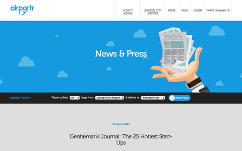 Screenshot of Press Page portr.com - The latest news from AirPortr - captured Sept. 26, 2014