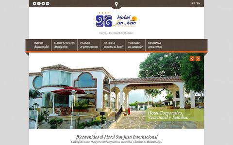 Screenshot of Home Page hotelsanjuaninternacional.com - Hoteles en Bucaramanga - Hotel San Juan Internacional. - captured Sept. 30, 2014