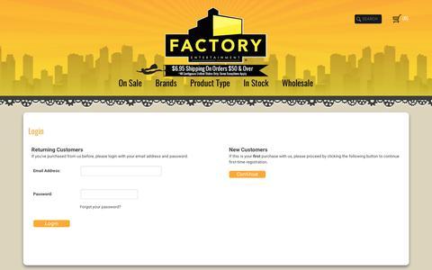 Screenshot of Login Page factoryent.com - Login - captured Oct. 13, 2017