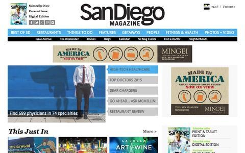 Screenshot of Home Page sandiegomagazine.com - San Diego Magazine - San Diego Restaurants, Events, Photos, The Best of San Diego - captured Oct. 2, 2015