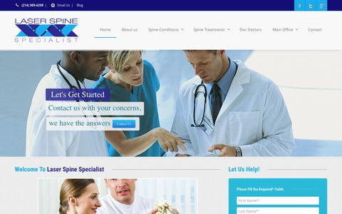 Screenshot of Home Page laser-spine-surgery.com - Laser Spine Specialists - Laser Spine Surery  | Minimally Invasive Spine Surgery - captured Jan. 27, 2015