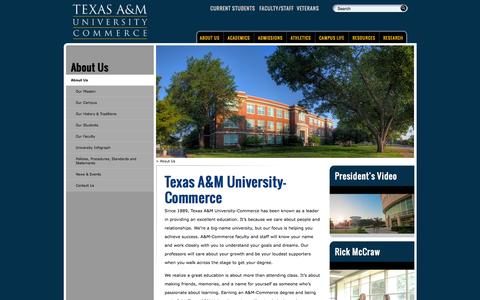 Screenshot of About Page tamuc.edu - Texas A&M University-Commerce:              About Us - captured Oct. 26, 2014
