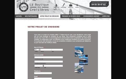 Screenshot of Menu Page boutique-des-croisieres.com - La Boutique des Croisières - Votre projet - captured Jan. 21, 2017