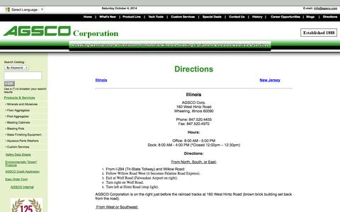 Screenshot of Maps & Directions Page agsco.com - Directions - AGSCO Corporation - captured Oct. 4, 2014