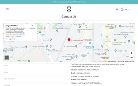 Screenshot of Contact Page fizzygoblet.com - Contact Us – Fizzy Goblet - captured Feb. 20, 2020