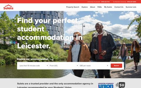Screenshot of Home Page sulets.com - Better student living with Sulets - Student Accommodation Leicester - captured July 26, 2018