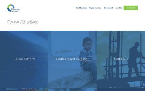 Screenshot of Case Studies Page pacificcommunityventures.org - Case Studies Archive - Pacific Community Ventures - captured July 8, 2018