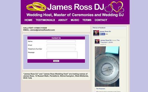 Screenshot of Contact Page jamesrossdj.com - James Ross DJ - Contact - captured Sept. 30, 2014