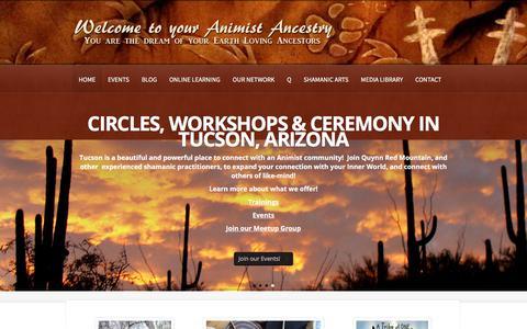 Screenshot of Home Page shamanicanimism.com - Shamanic Animism - Tucson shamanism, animism & shamanic training - captured July 7, 2018