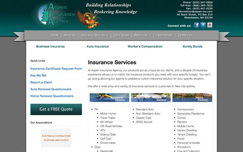 Screenshot of Services Page aspen-ins.com - Insurance Services - Aspen Insurance Agency - captured Nov. 21, 2016